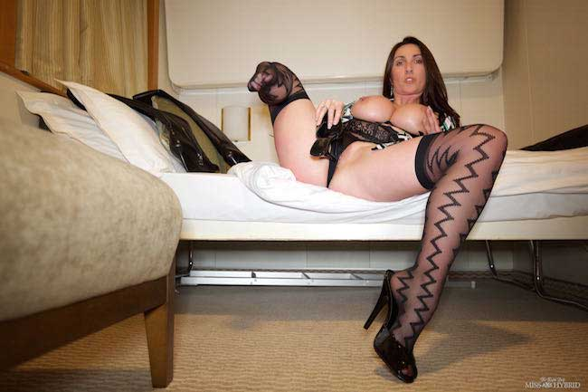Stockings suspenders high heels and huge tits, Miss Hybrid sexy cabin show.